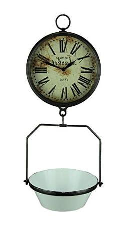 Farmers Market Clock with Hanging Fruit Basket - Vintage Sca