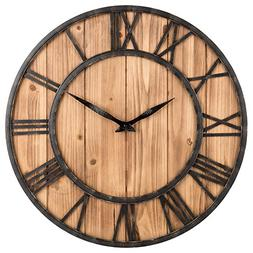 Big Wall Clocks Farmhouse Rustic Barn Metal & Solid Wood Noi