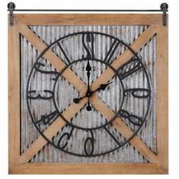 Farmstead Barn Door Wall Clock Wall Brown Indoor Home Decor
