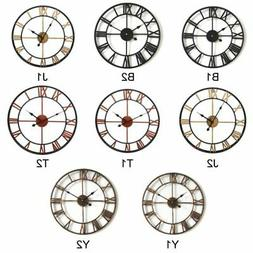Fashion Large 3D Wall Clocks Roman Numerals Round Wrought Ir