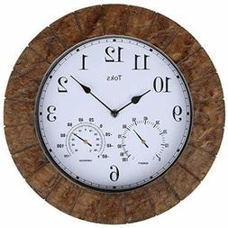 Lilyshome 14-Inch Faux-Slate Indoor or Outdoor Wall Clock wi