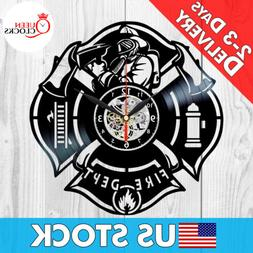 Fire Department Clock Vinyl Firefighting Decor Firefighter G