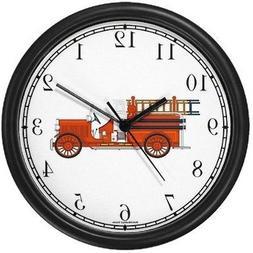 Fire Engine, Fire Truck or Firetruck - JP - Wall Clock by Wa