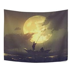 ALAZA Fishermen Fishing Rod on Boat and Big Moon Polyester F