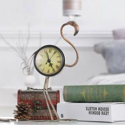 Flamingo Shaped Clock Table Clock for Living Room Office Dec