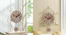 Floating Wall Clock Faux Rose Petals Wrought Ion Decor Count