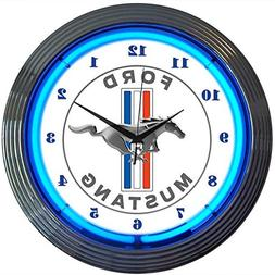 """Neonetics Ford Mustang Blue Neon Wall Clock 15"""""""
