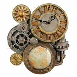Design Toscano Gears of Time Steampunk Wall Clock Sculpture,