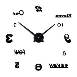 Geometric Wall Clocks Diy Stickers Acrylic Mirror Quartz Liv