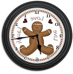 Gingerbread Man Wall Clock - Kitchen Home Primitive Country