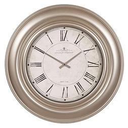 """30"""" Glenmont Wide Silver Framed Roman Numeral Wall Clock"""