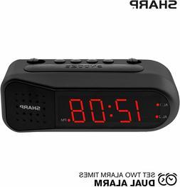 Sharp Digital Alarm Clock with Dual Alarm, Ascending Alarm,
