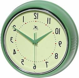 Infinity Instruments-Green Round Metal Retro 9.5 in. Wall Cl