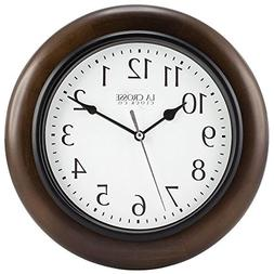 """10"""" H Round Brown Solid Wood Analog Wall Clock"""