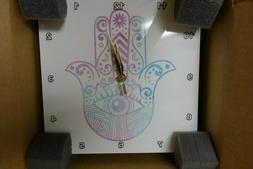 3dRose Hamsa Hand Purple & Blue Watercolor  Wall Clock 10 x