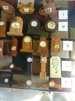Hand Crafted wood clocks with quartz movements
