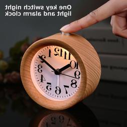 Handmade Classic Small Round Wood Silent Desk Alarm Clock Wi