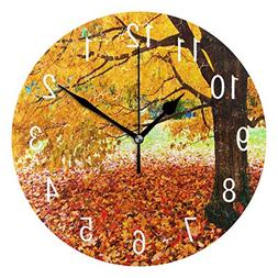 ALAZA Home Decor Autumn Fall Leaves Tree Oil Painting Round