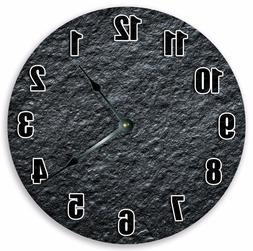 Home Décor Clocks Modern Black Silent Battery CHARCOAL ROUG