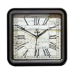 CAMY Home Decor Square Wall Clock Black Frame, Grand Wooden