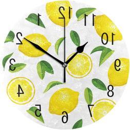 ALAZA Home Decor Summer Lemon Fruit Leaves 9.5 inch Round Ac