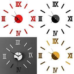 Home Decoration 3D Modern DIY Wall Clock Roman 3D Sticker Mi