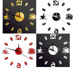 Home Decoration Wall Clock DIY Acrylic Digital Number Coffee