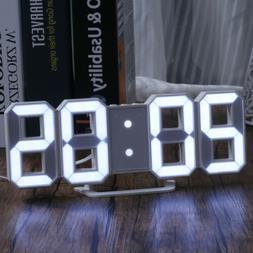 LED Digital Large 3D Display Alarm Clock USB Power Desk Tabl