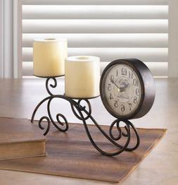 HOME SWEET HOME Tabletop Clock and Scrollwork Candle Holder
