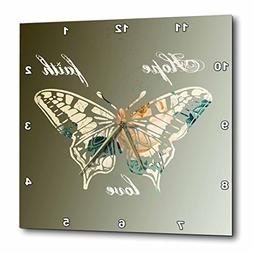 3dRose Hope, Faith and Love Gold Butterfly inspirational art
