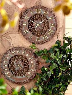 Indoor Outdoor Ceramic Clock for Patio Home Wall Decor Natur