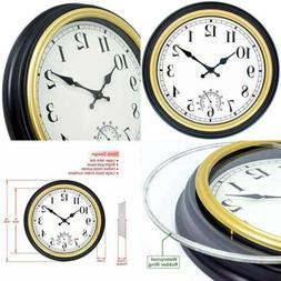 45Min 12-Inch Indoor/Outdoor Retro Wall Clock with Thermomet