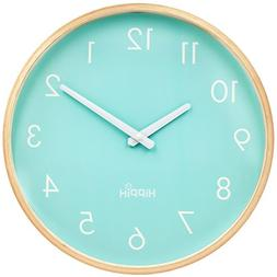 HIPPIH Large Indoor/Outdoor Silent Wall Clock Wood 12 Inches