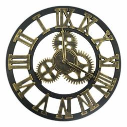 "Industrial Retro Wall Clock Large 12"" 16 inch Round 3D Gear"