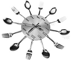 Ingenious Home Sliver Cutlery Utensil Wall Clock Fork Spoon