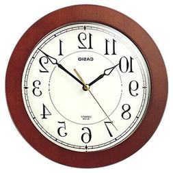 Casio  IQ126-5D Round Wood Frame White Face Easy to Read Wal