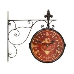 Iron Red Face Roman Numerals with Scroll Wall Mount Round Wa