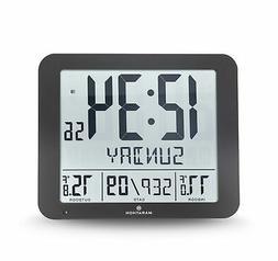 Marathon Slim Atomic Wall Clock with Indoor/Outdoor Temperat