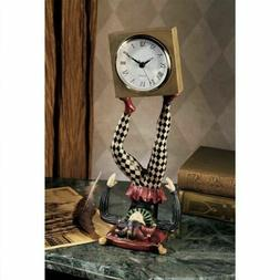 "Juggling Time Harlequin Jester 13"" Sculptural  Desktop  Cloc"