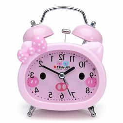 Kids Alarm Clock Pink Battery Operated For Girls Teens Handh