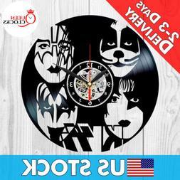 KISS Wall Clock Rock Band Vinyl Record Black Fan Art Best Gi