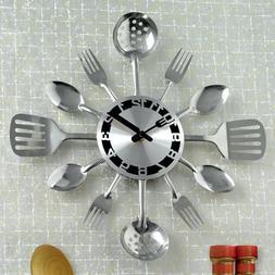 Kitchen Utensil Clock Silvertone Wall Decor Battery Powered