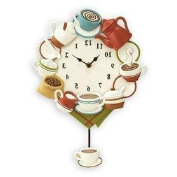 Kitchen Wall Decor Coffee Cup Pendulum Wall Clock Battery Op