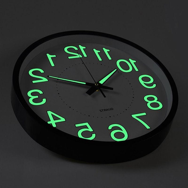 12 inch glow dark wall clock silent