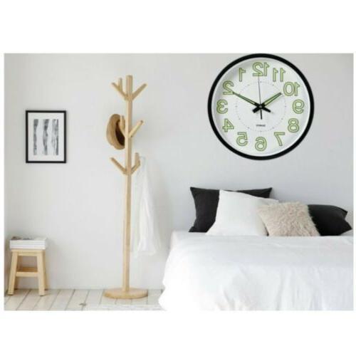12'' Modern Quartz Clock Non-ticking Glow In The Dark Silent