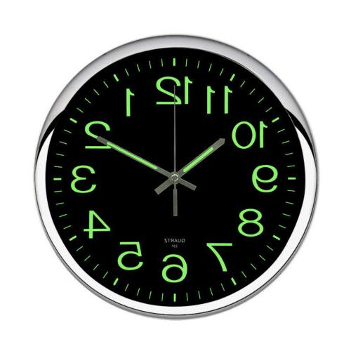 12Inch Non-Ticking Wall Clock Battery Operated