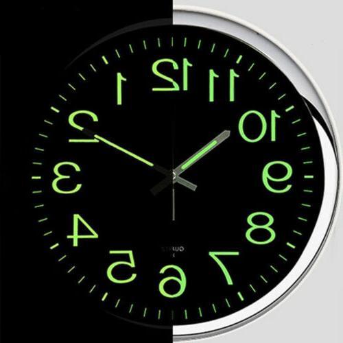 12'' Modern Luminous Quartz Wall Clock Non-ticking Glow In Silent