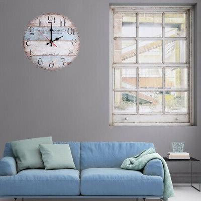 12inch Wooden Wall Clock Plank Clocks Decor #