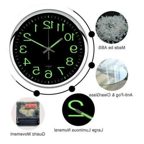 12'' Quartz Clock Non-ticking Glow The Silent