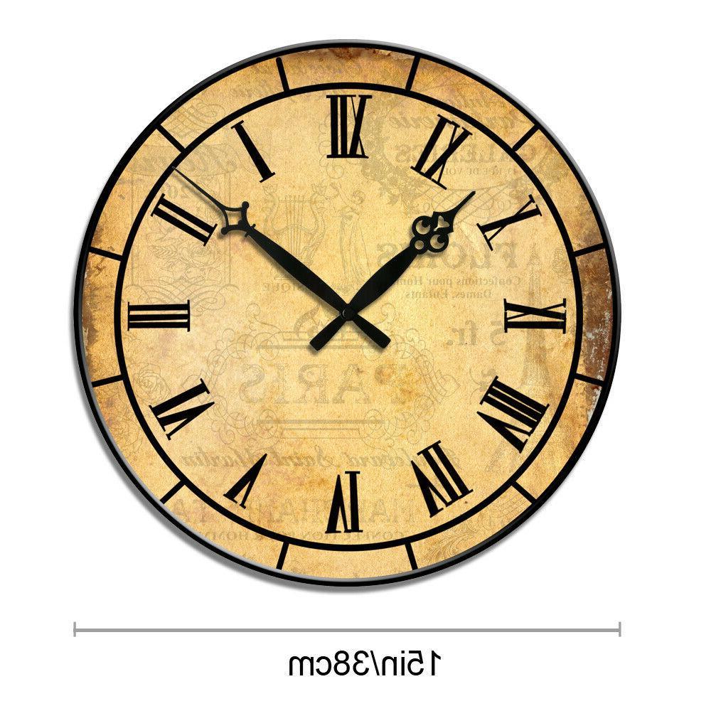 """15"""" Retro Room Wall Clocks Decor Antique Time"""